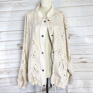 Free People Daisy Jane ivory lace jacket size L